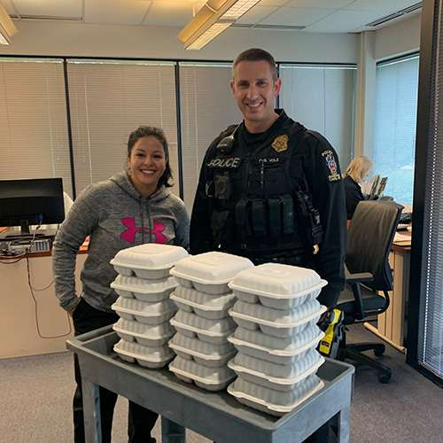 community free biryani giveaway for police and frontline workers