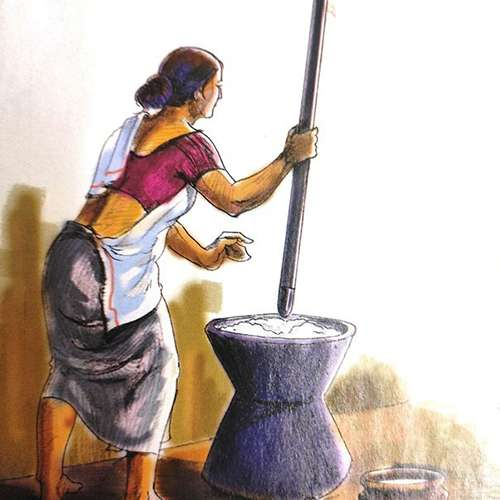 culture painting of indian woman pounding rice