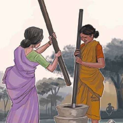 culture painting of indian women pounding masala