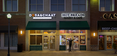 home page about us dosaandchaat restaurant entrance
